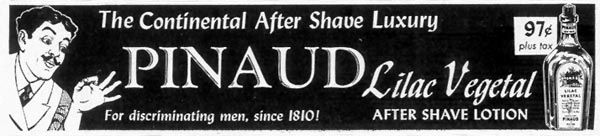 PINAUD LILAC VEGETAL AFTER SHAVE LOTION SATURDAY EVENING POST 06/04/1955 p. 116