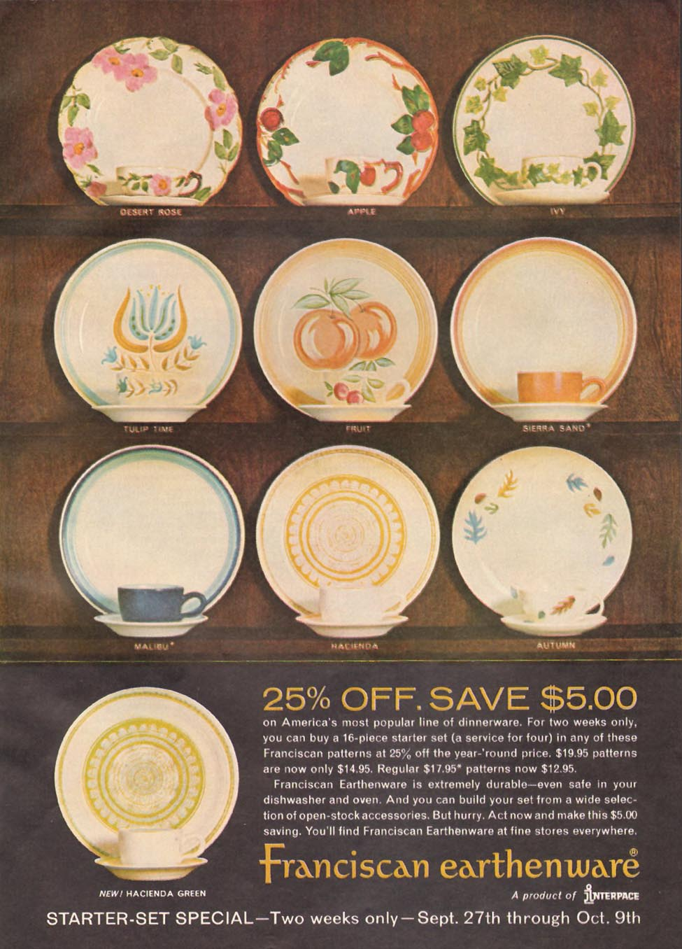 FRANCISCAN EARTHENWARE GOOD HOUSEKEEPING 10/01/1965 p. 155