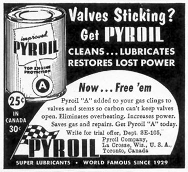 PYROIL MOTOR OIL SATURDAY EVENING POST 10/29/1955 p. 128