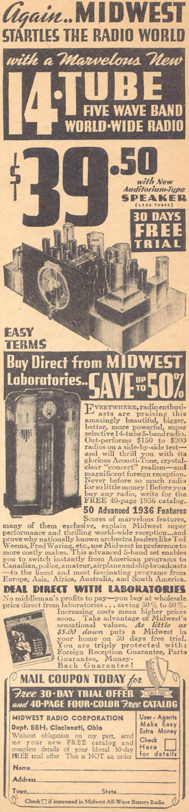MIDWEST 14-TUBE FIVE WAVE BAND WORLD-WIDE RADIO LIBERTY 02/15/1936 p. 39