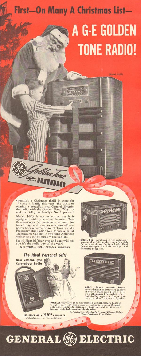 GENERAL ELECTRIC GOLDEN TONE RADIO! LIFE 12/16/1940 p. 71