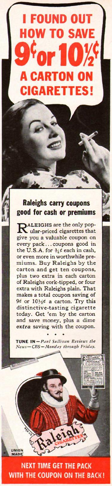 RALEIGH CIGARETTES WOMAN'S DAY 01/01/1941 p. 53