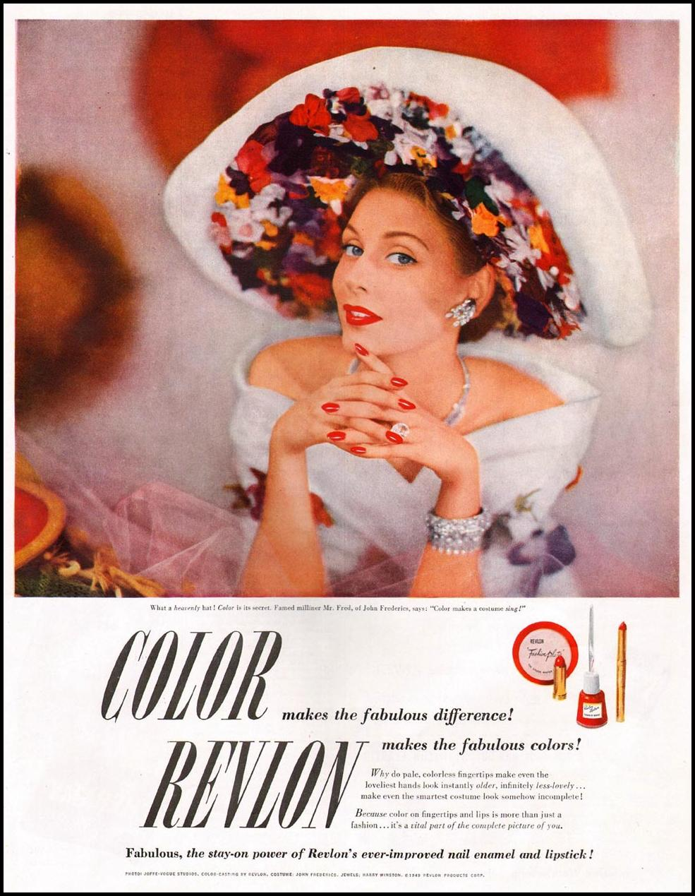REVLON NAIL ENAMEL AND LIPSTICK LADIES' HOME JOURNAL 07/01/1949 p. 7