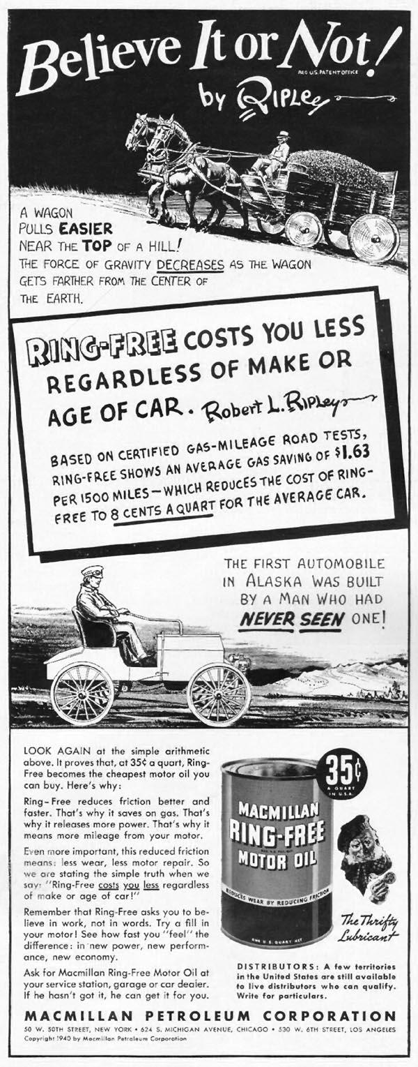 MACMILLAN RING-FREE MOTOR OIL LIFE 09/16/1940 p. 76
