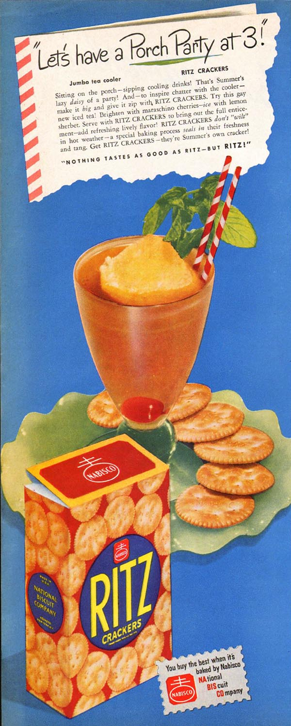 NABISCO RITZ CRACKERS LADIES' HOME JOURNAL 07/01/1949 p. 144