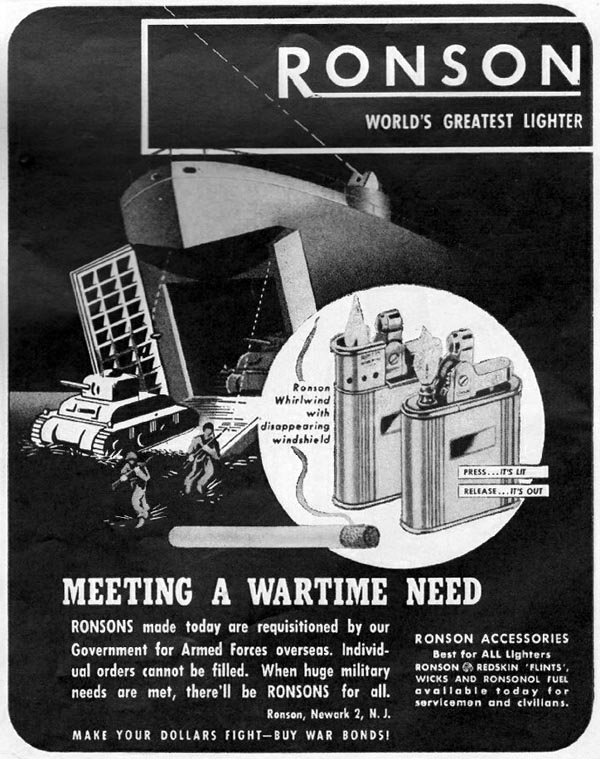 RONSON CIGARETTE LIGHTERS LIFE 10/23/1944 p. 111