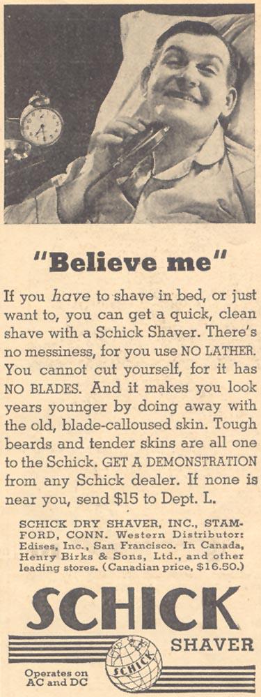 SCHICK DRY SHAVER LIBERTY 04/11/1936 p. 43