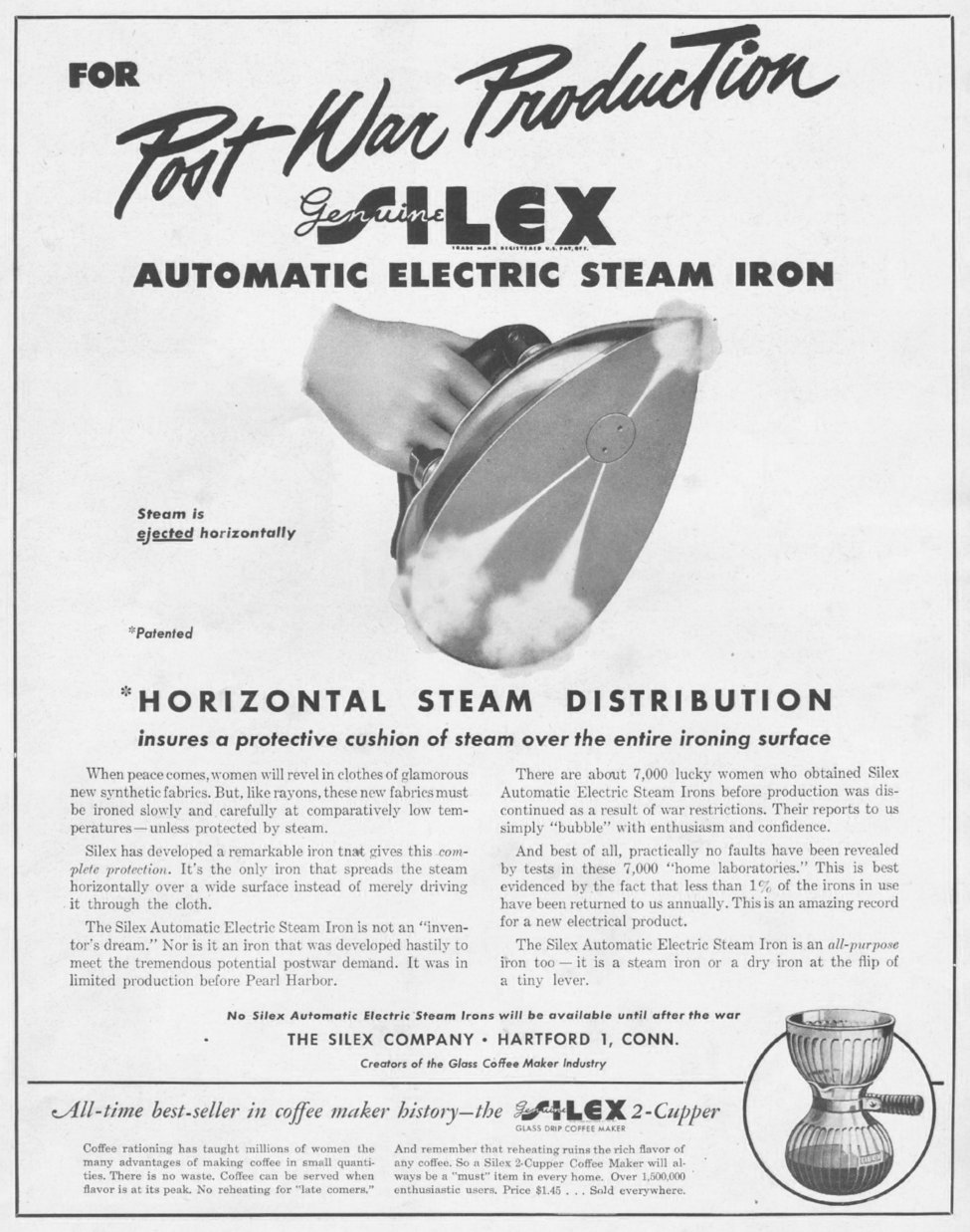 SILEX ELECTRIC STEAM IRONS LIFE 10/25/1943 p. 73