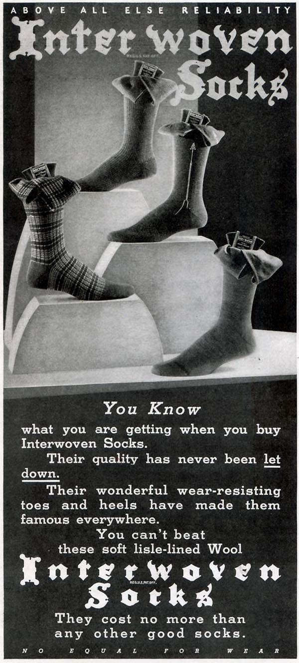 INTERWOVEN SOCKS GOOD HOUSEKEEPING 11/01/1933 p. 230