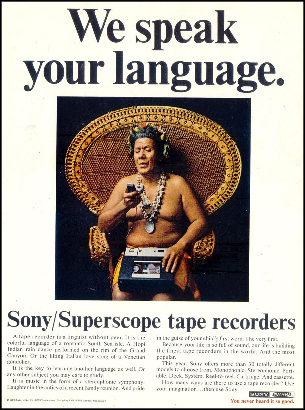 SONY SUPERSCOPE TAPE RECORDERS SATURDAY EVENING POST 01/25/1969