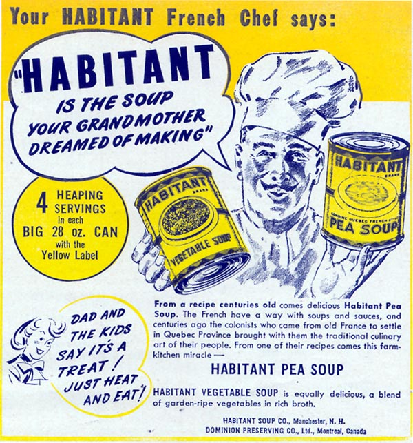 HABITANT PEA SOUP WOMAN'S DAY 12/01/1949 p. 127