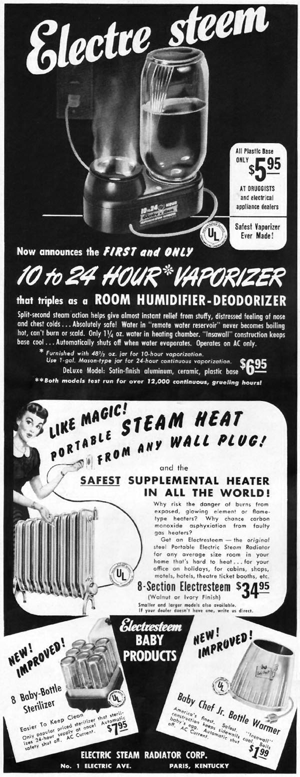 ELECTRE STEEM VAPORIZER LADIES' HOME JOURNAL 11/01/1950 p. 14