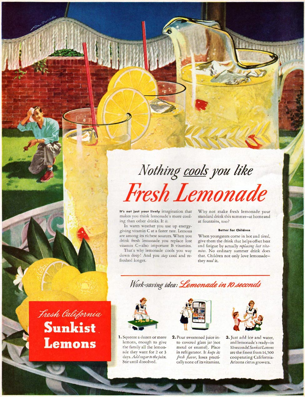 SUNKIST CALIFORNIA LEMONS LADIES' HOME JOURNAL 07/01/1949 p. 109