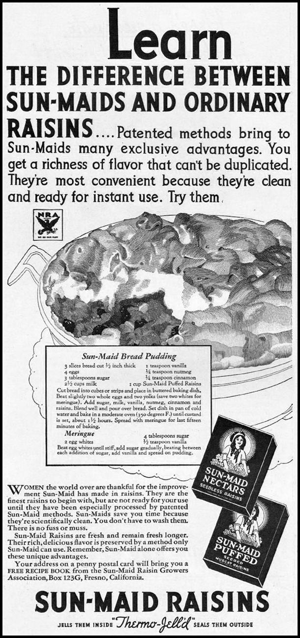 SUN-MAID RAISINS GOOD HOUSEKEEPING 12/01/1933 p. 138