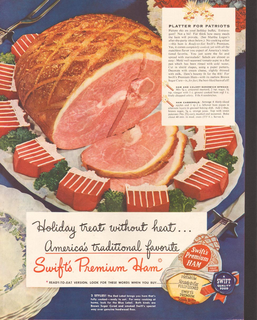 SWIFT'S PREMIUM HAM LADIES' HOME JOURNAL 07/01/1949 p. 65
