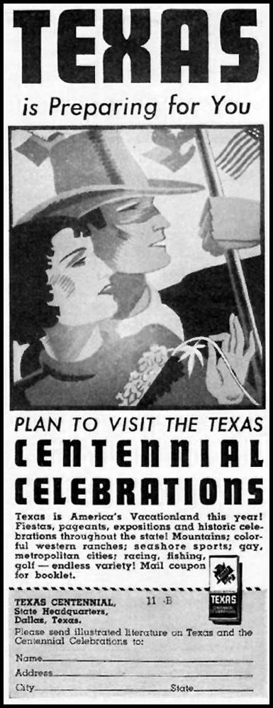 TEXAS CENTENNIAL CELEBRATIONS BETTER HOMES AND GARDENS 05/01/1936 p. 122