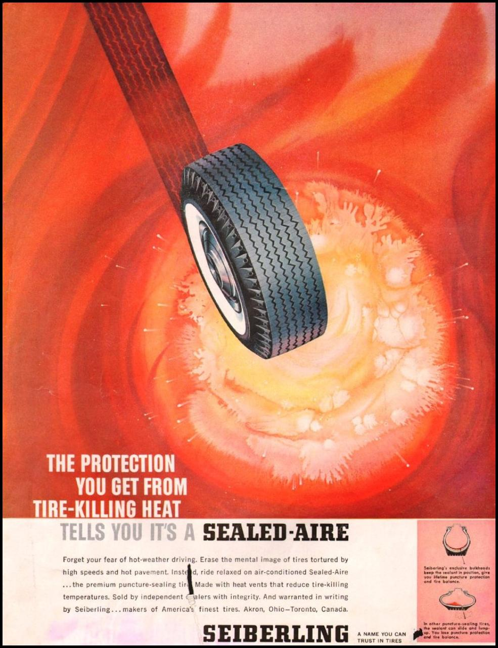 SEIBERLING TIRES SATURDAY EVENING POST 06/04/1960 INSIDE BACK