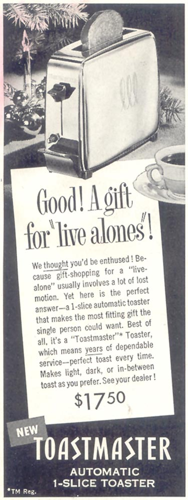 TOASTMASTER AUTOMATIC 1-SLICE TOASTER SATURDAY EVENING POST 12/10/1955 p. 60