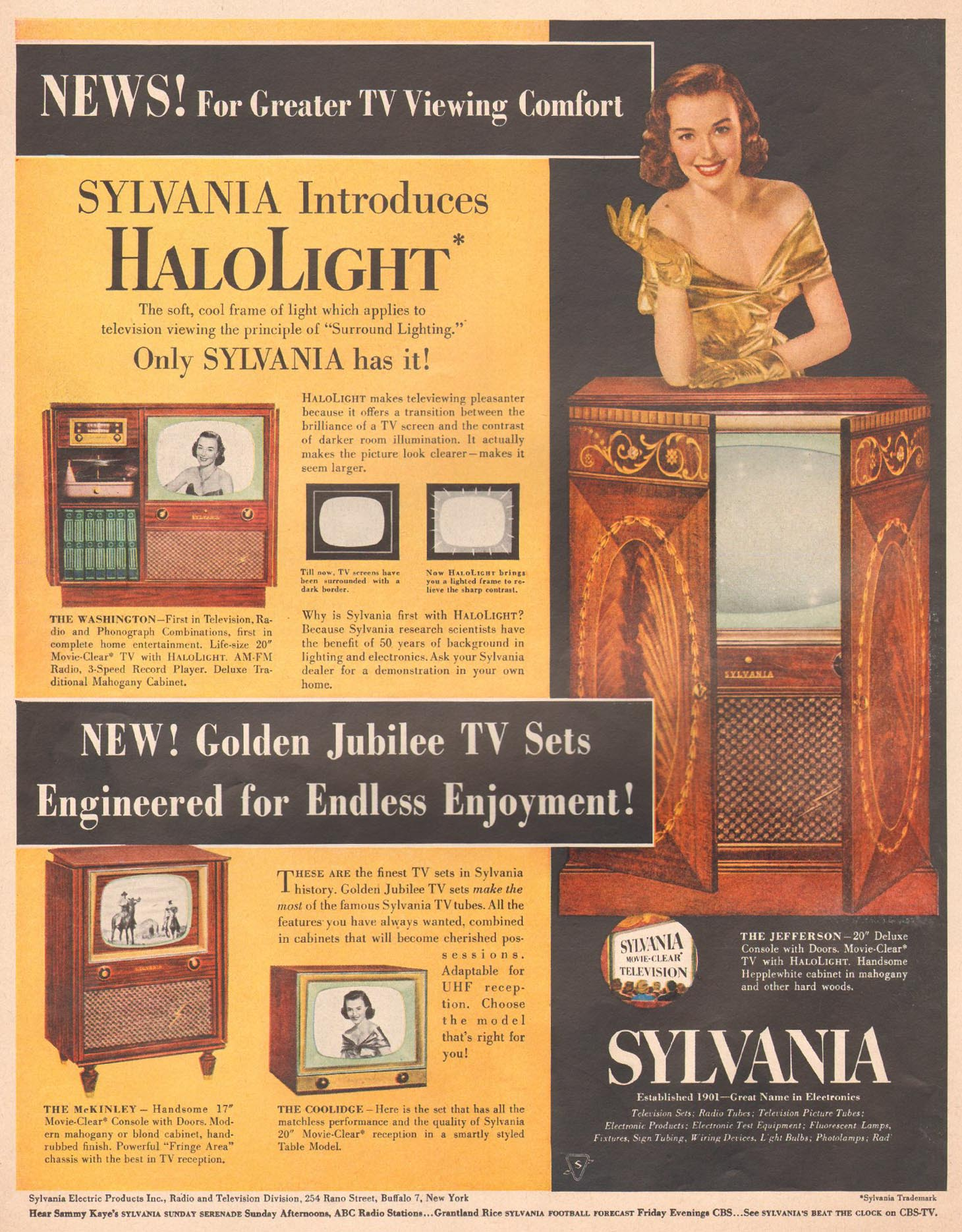 SLYVANIA HALOLIGHT TELEVSION LIFE 10/01/1951