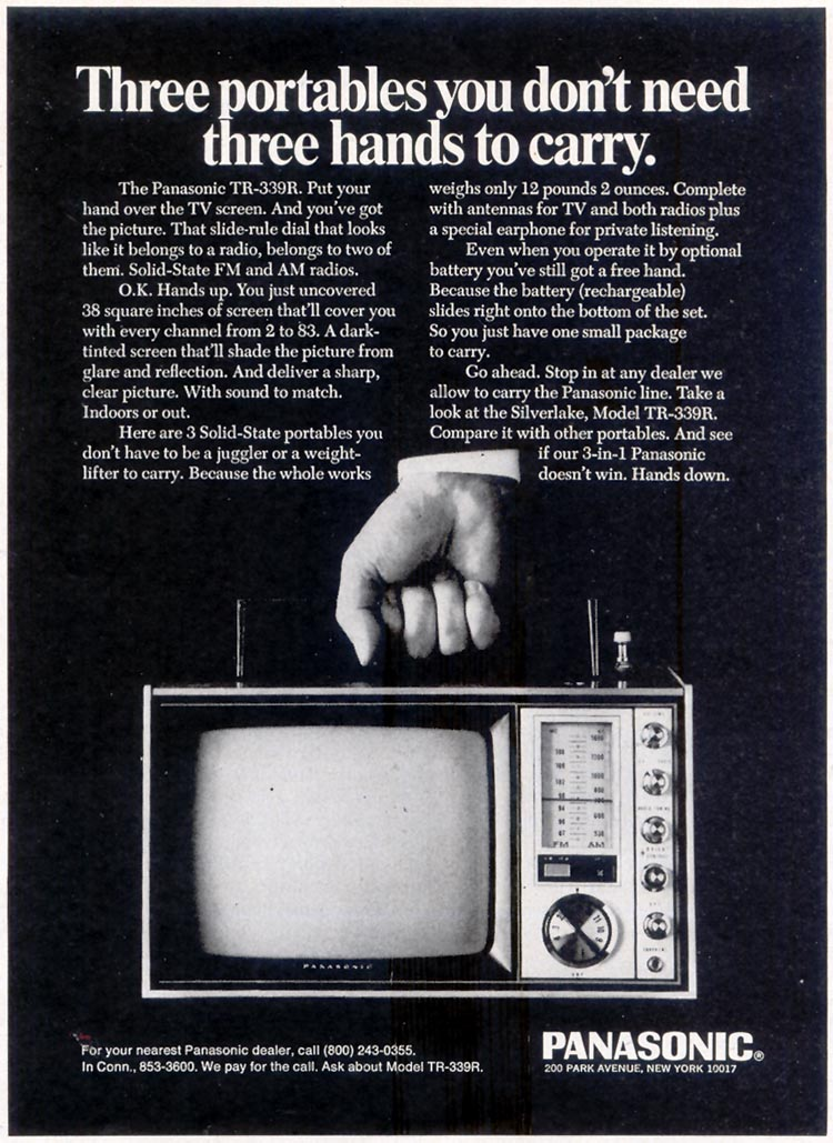 PANASONIC PORTABLE TELEVISION SATURDAY EVENING POST 02/08/1969 p. 47