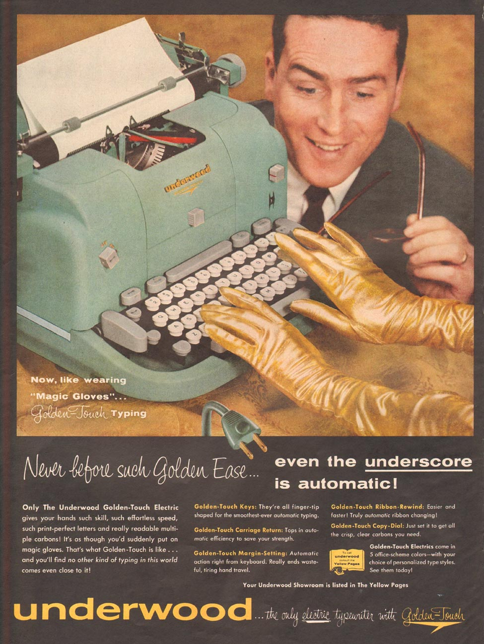 UNDERWOOD TYPEWRITERS LIFE 04/01/1957 p. 64