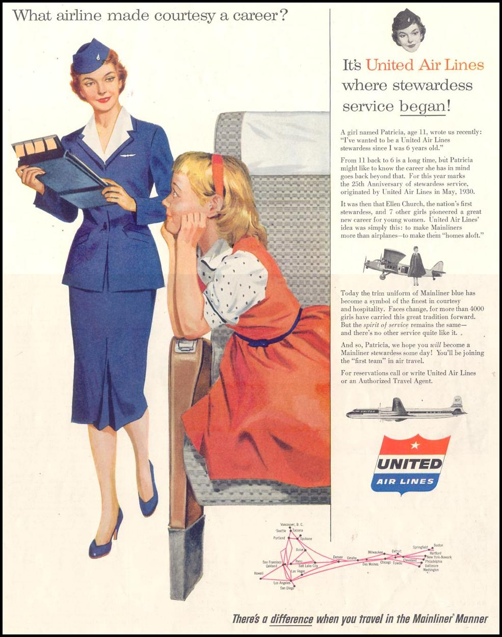 AIR TRAVEL SATURDAY EVENING POST 07/23/1955 p. 57