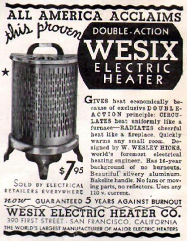 WESIX ELECTRIC HEATER GOOD HOUSEKEEPING 12/01/1935 p. 193