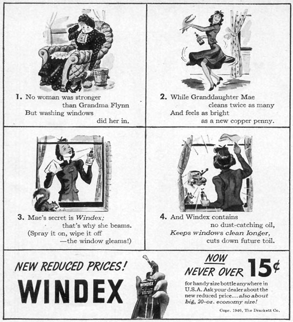 WINDEX WINDOW CLEANER WOMAN'S DAY 10/01/1940 p. 6