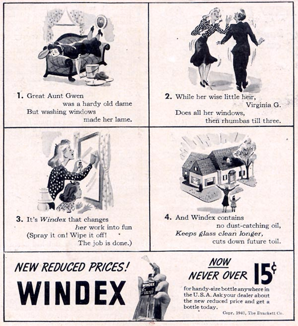 WINDEX WINDOW CLEANER WOMAN'S DAY 11/01/1940 p. 3