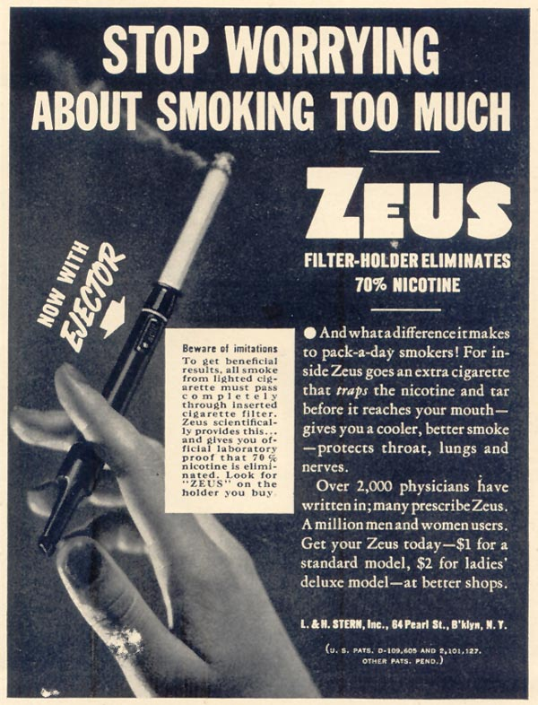 ZEUS CIGARETTE FILTER-HOLDER LIFE 10/17/1938 p. 69