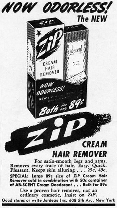 ZIP CREAM HAIR REMOVER LADIES' HOME JOURNAL 07/01/1949 p. 18