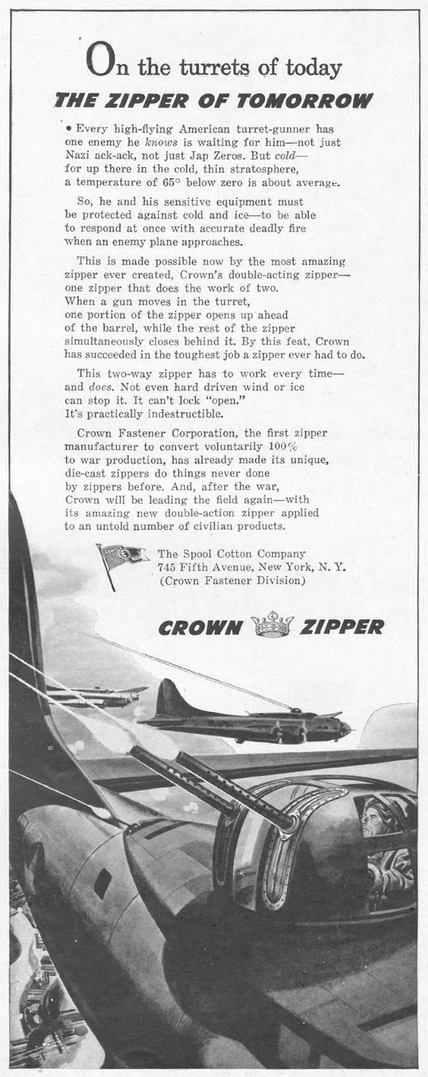 CROWN ZIPPERS LIFE 10/25/1943 p. 115